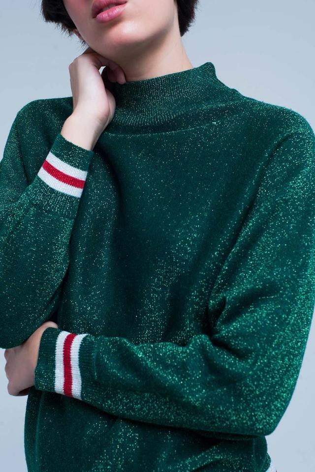 Maglione verde scintillante con collo finto