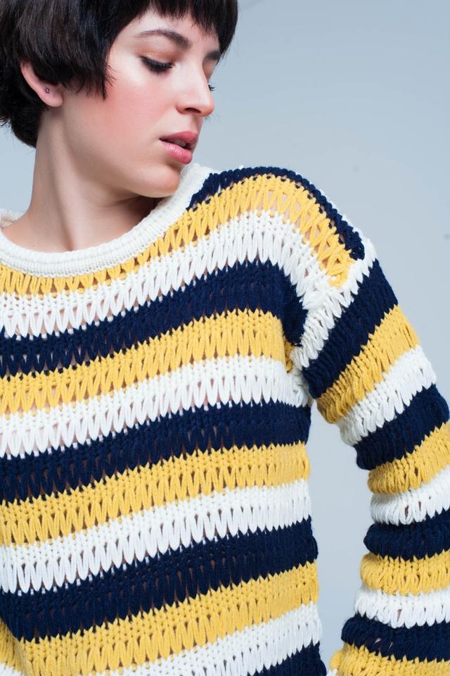 Maglione lavorato a maglia con motivo a goccia senape