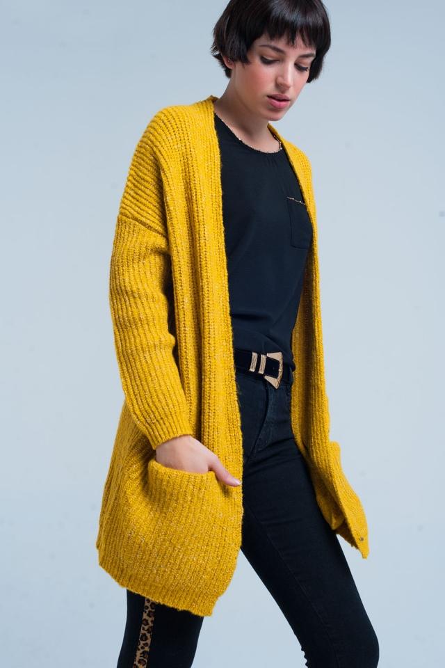 Cardigan in maglia senape fleck