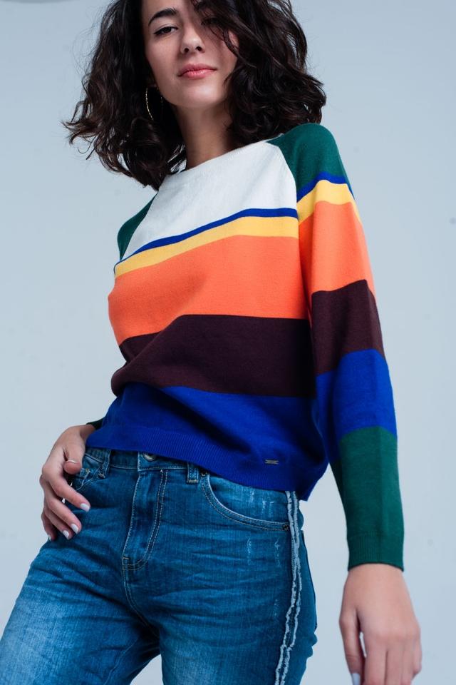 Maglione a righe multicolore blu
