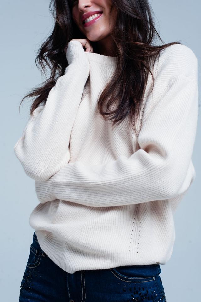 Maglione strutturato beige con girocollo