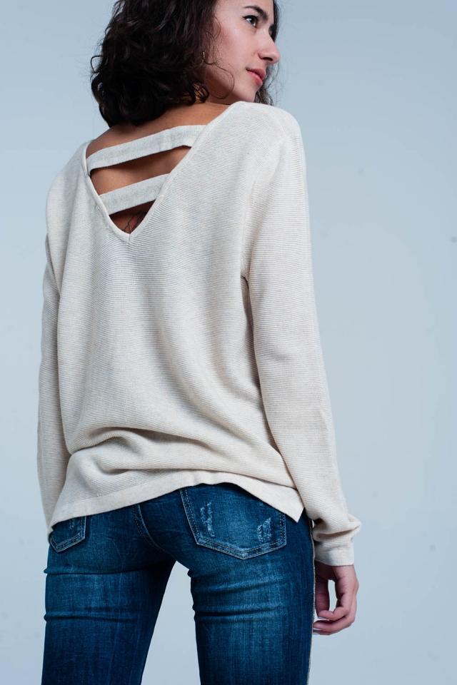 Maglione beige con striscia aperto indietro