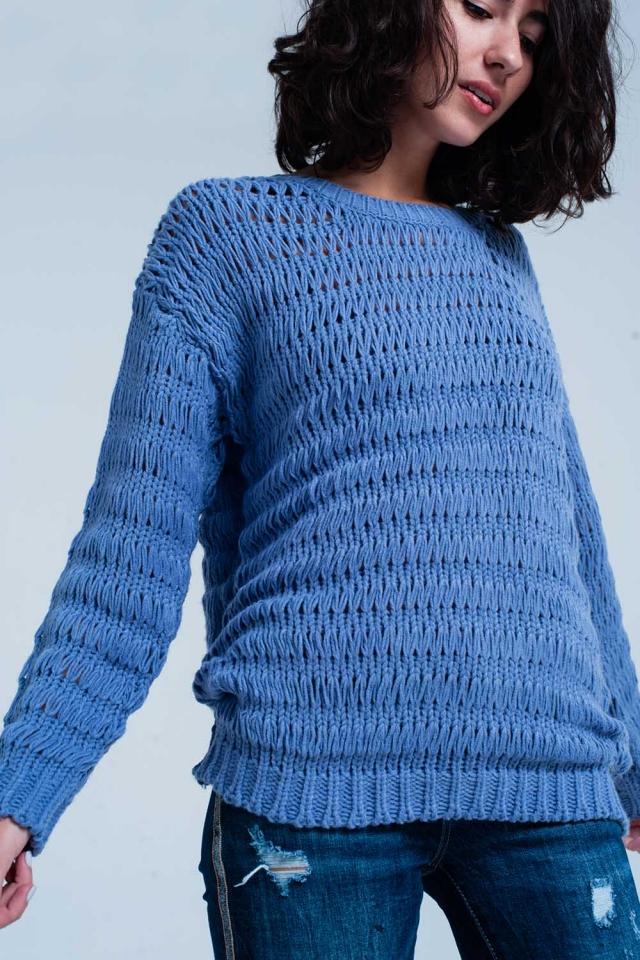 Maglione lavorato a maglia blu