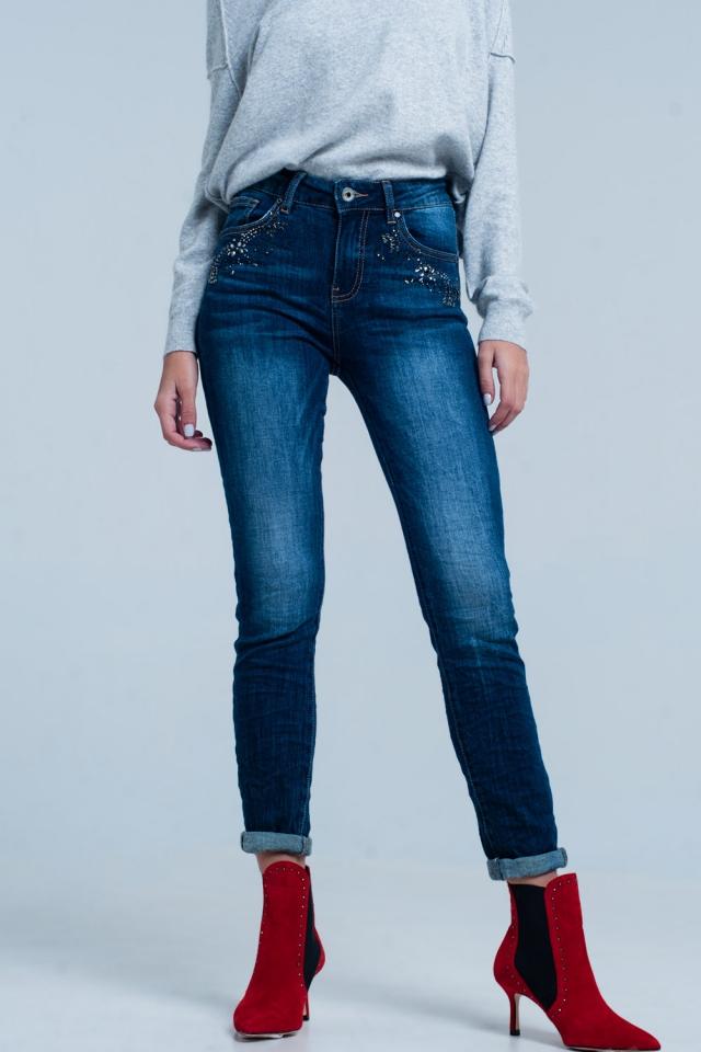 Jeans vita alta lavato oscuro con dettagli in strass
