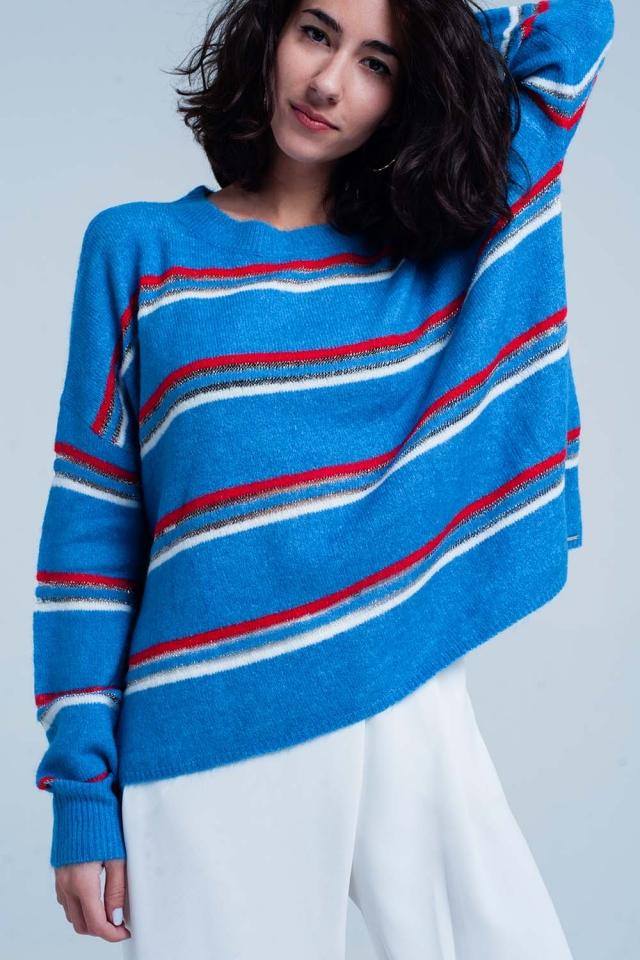 Maglione blu con strisce rosse