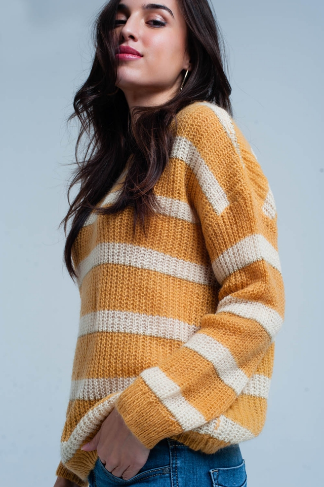Maglione mohair a righe gialle con lurex