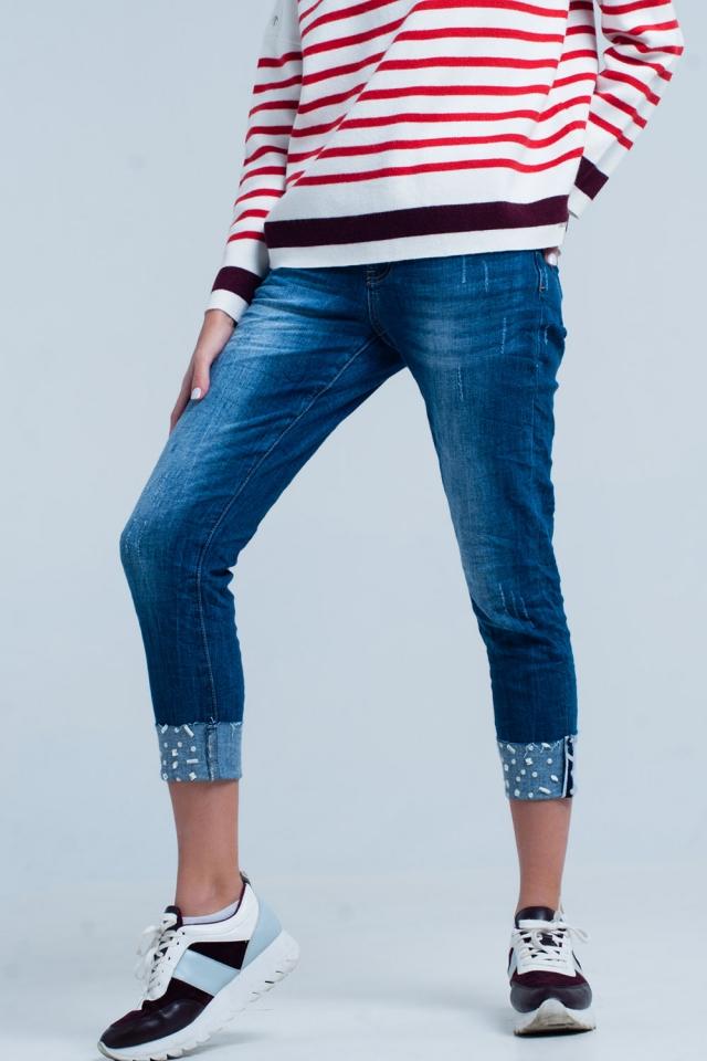 Jeans denim con caviglie pieghe strass