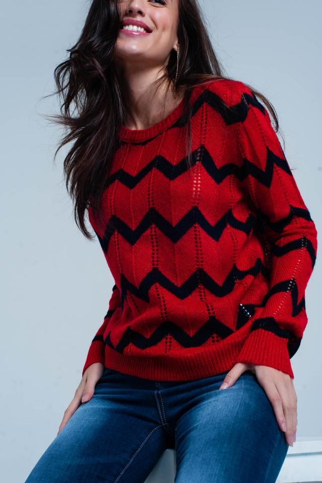 Maglione a maglia rosso glitter in zig-zag nero