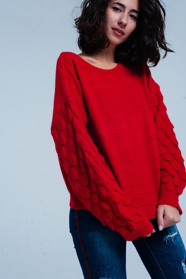 Maglione a trama felpa a maglia spessa rossa