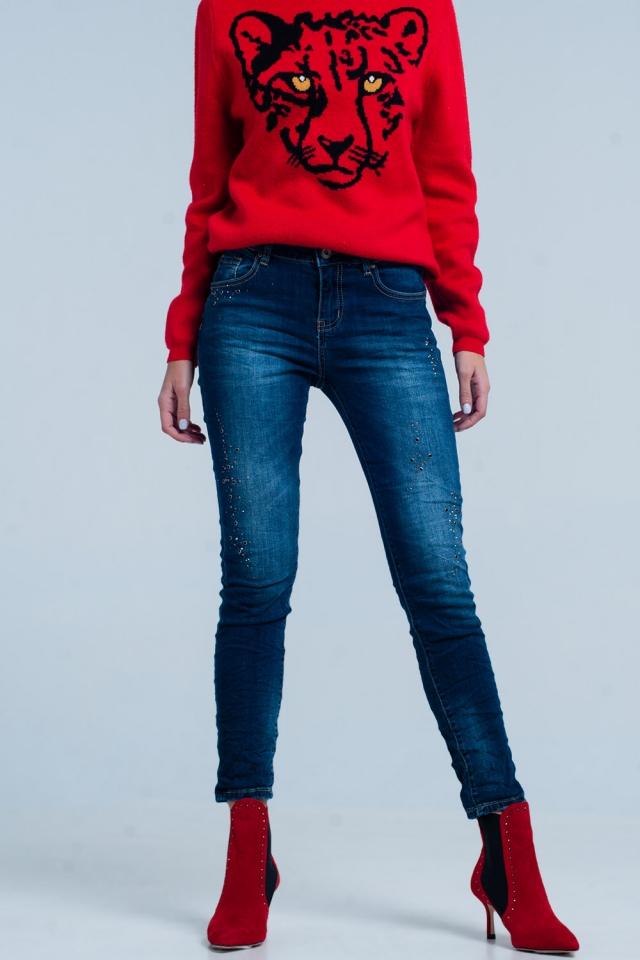 Jeans oscuro stropicciato con strass