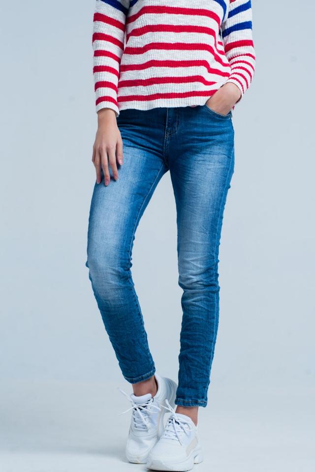 Jeans skinny rugosi lavato oscuro