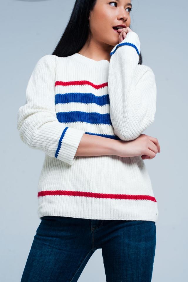 Maglione punto beige con strisce blu e rosse