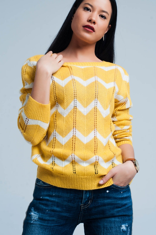 Maglione a maglia giallo glitter in zig-zag bianco