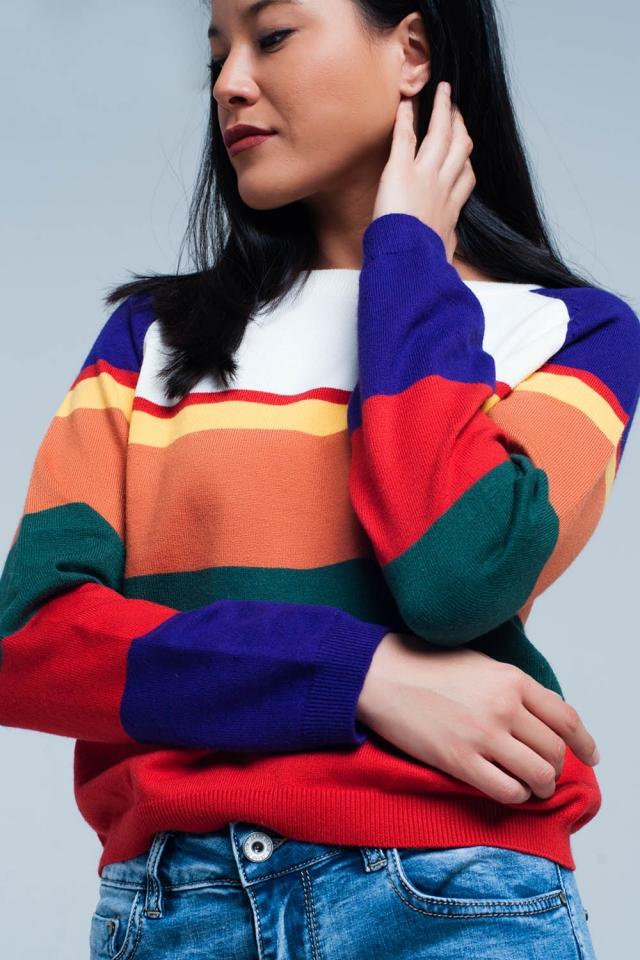 Maglione a righe multicolore rosso