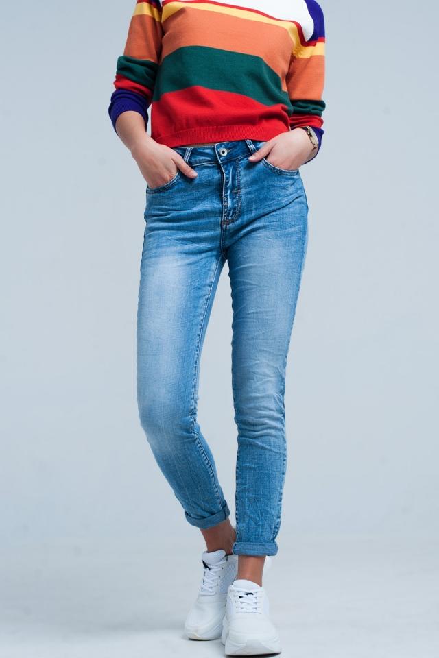 Jeans skinny lavato chiaro con frange
