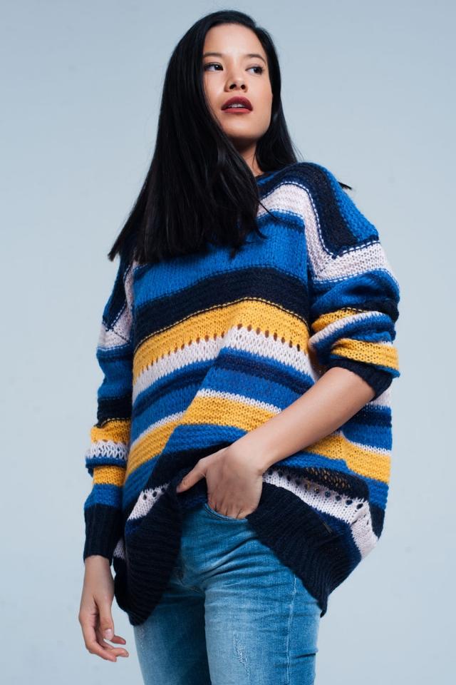 Maglione lungo blu a righe in maglia pesante arancione