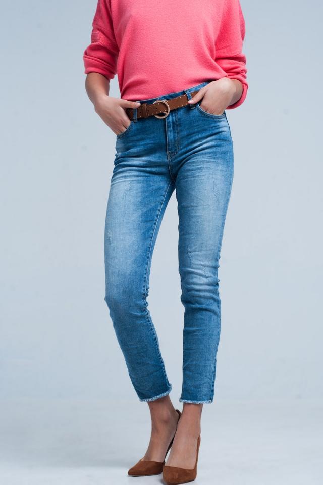 Jeans skinny lavato medio con frange