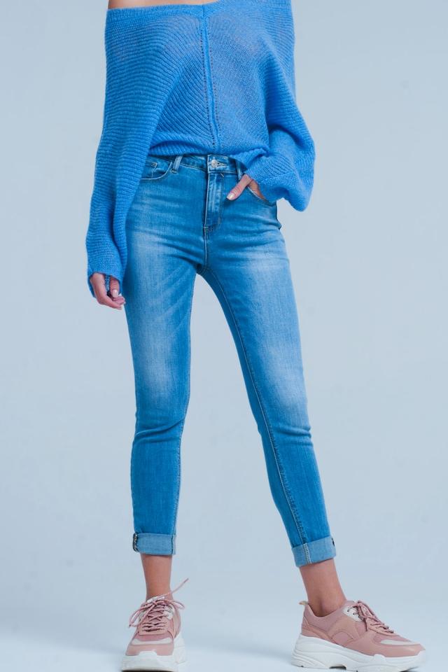 Jeans skinny a vita alta con dettaglio maculata