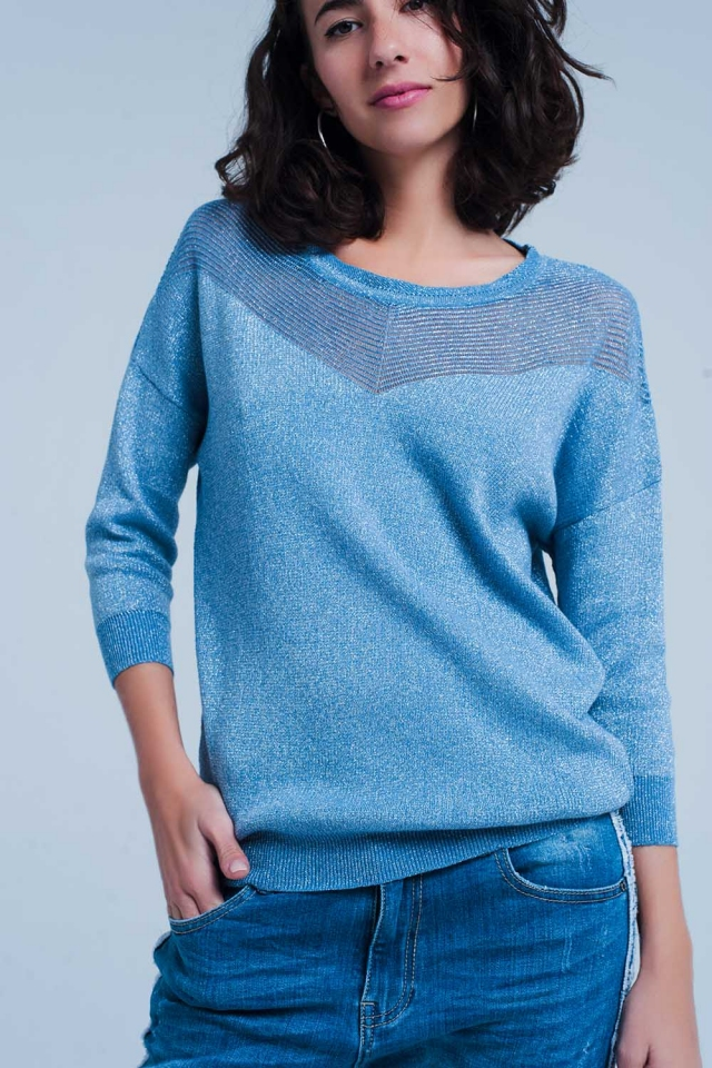 Maglione lavorato metallizzato blu
