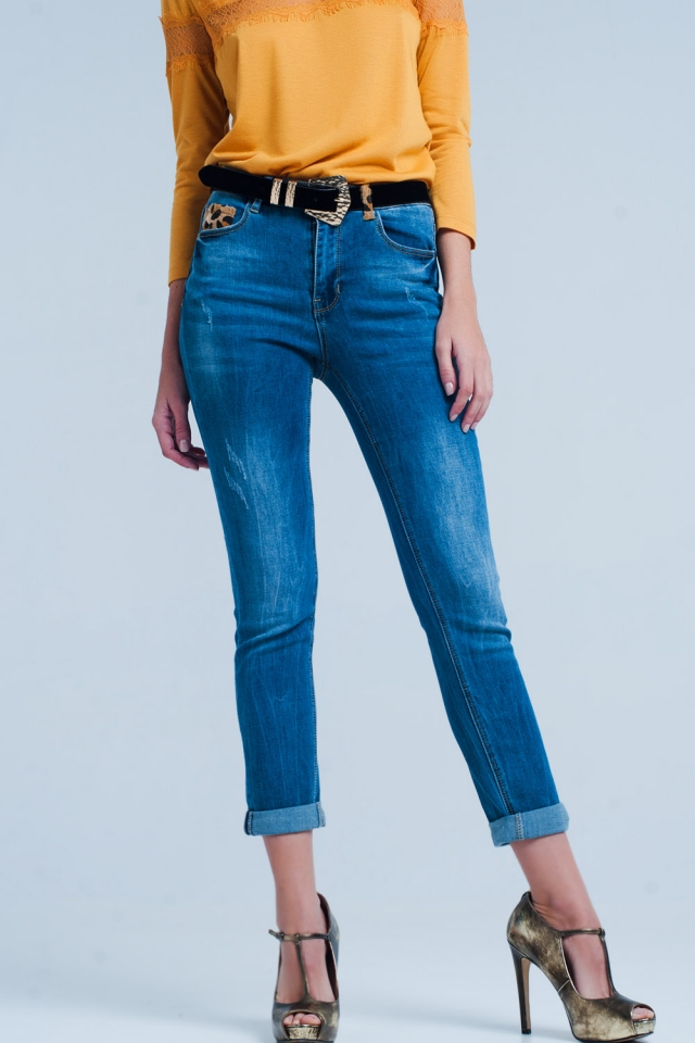 Jeans skinny con dettaglio maculata