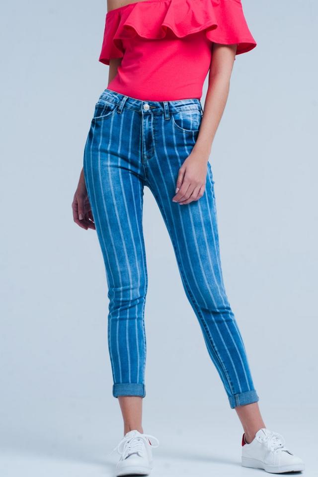Jeans skinny con strisce e lavaggio chiaro