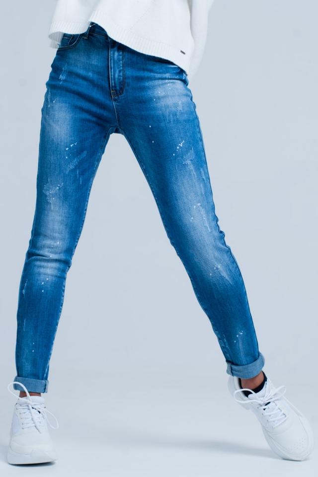 Jeans skinny strappati lavato scuro e effetto candeggio