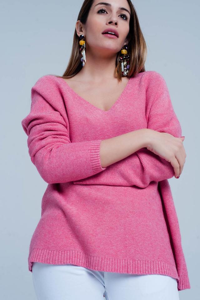 Maglione con scollo a V in maglia morbida rosa