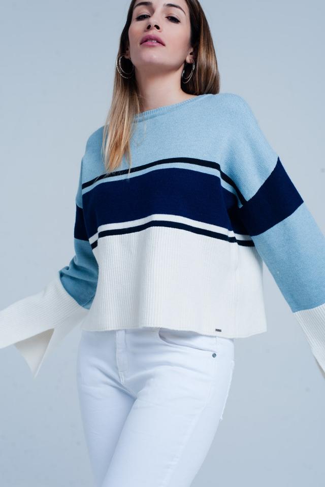 Maglione Blu girocollo a righe con maniche svasate