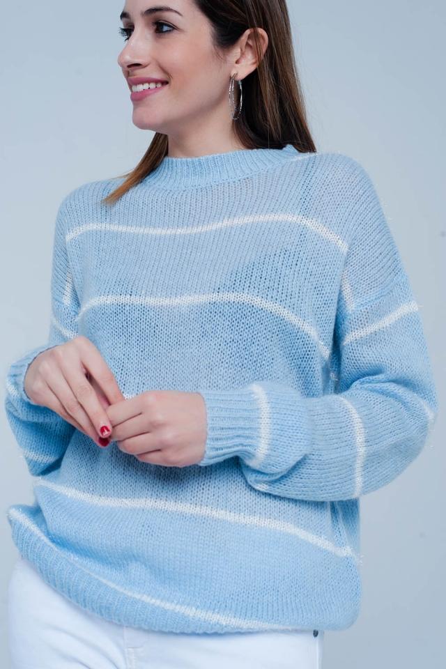 Maglione Blu a strisce con collo rotondo