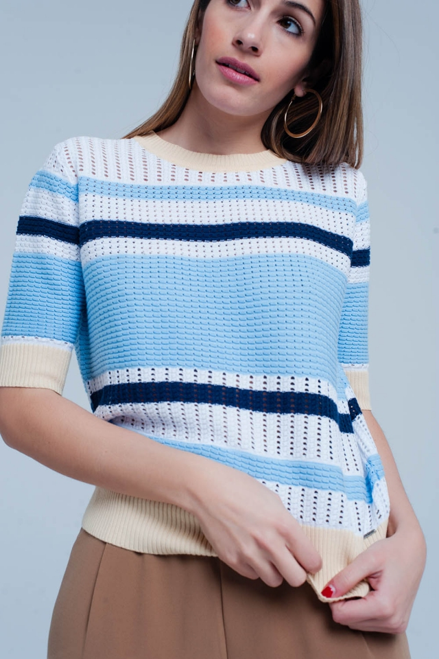 Blue Textured Striped Sweater