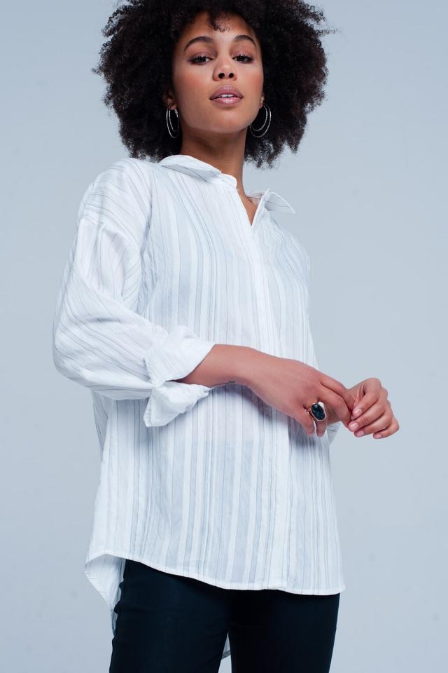 Camicia bianca oversize a righe
