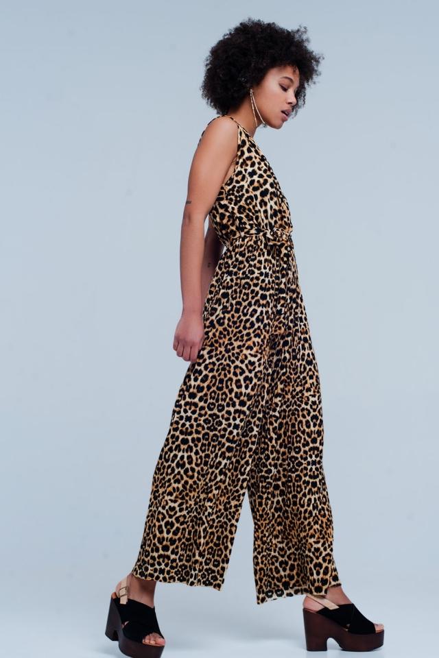 Tuta stampa leopardo marrone