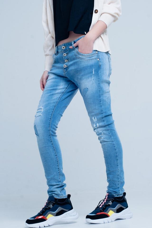 Jeans botfriend barrato con bottoni
