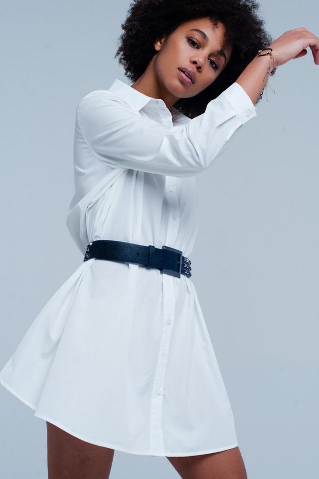 Vestito camicia lungo bianca in popeline