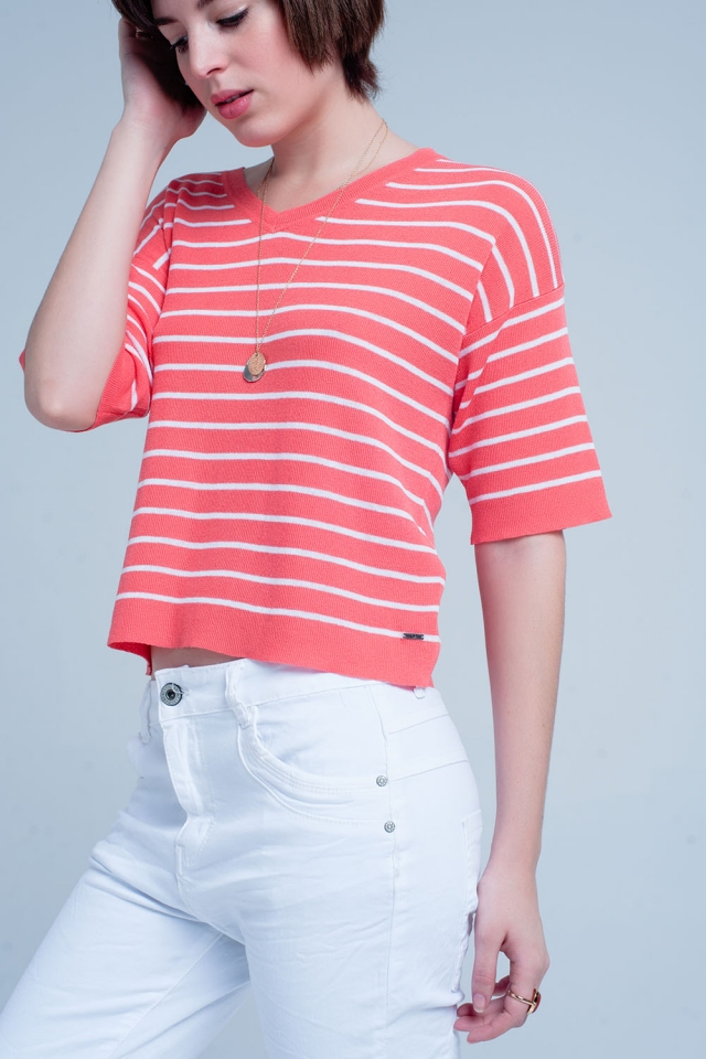Coral Striped Short Sleeve V-neck Sweater