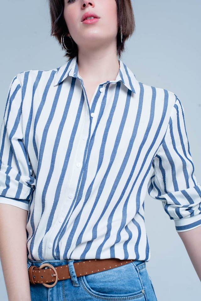 White Shirt with Light Denim Stripes
