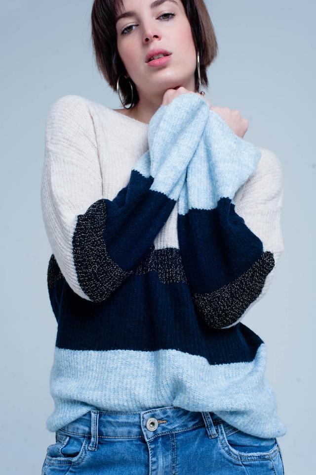 Maglione a righe bleu con lurex