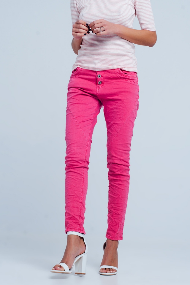 Boyfriend jeans fucsia a vita bassa