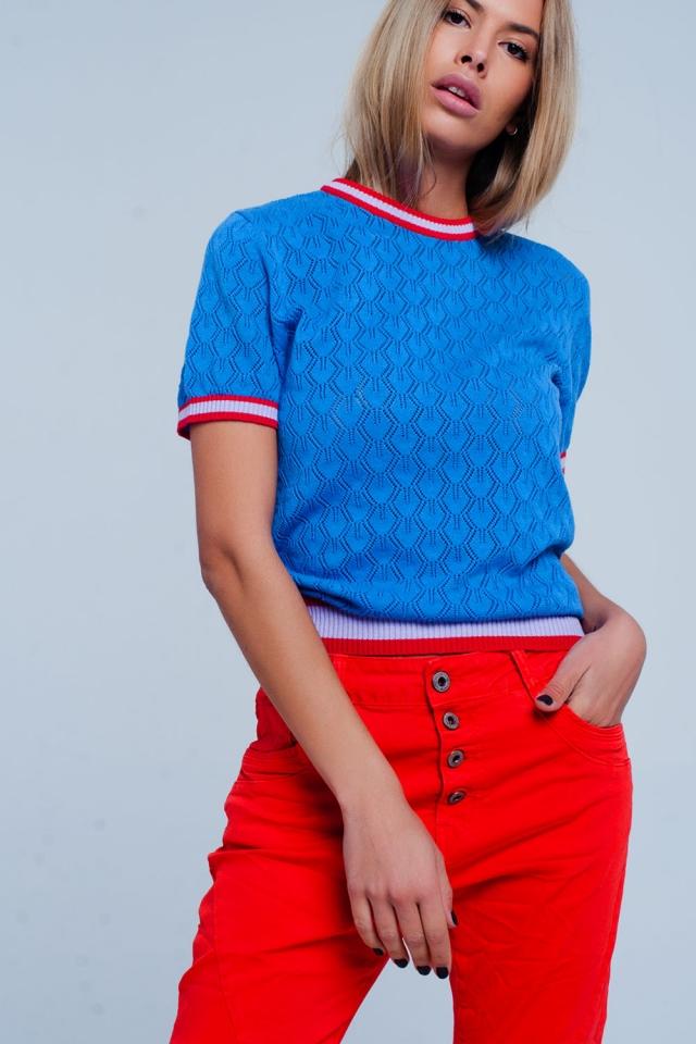 Maglione traforato Colore blu con motivo geometrico