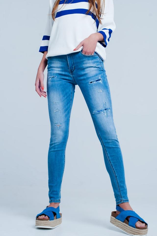 Jeans stretch slim blu medio rammendati