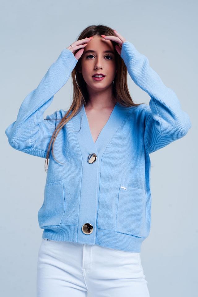 Cardigan blu a coste in maglia fine con bottoni