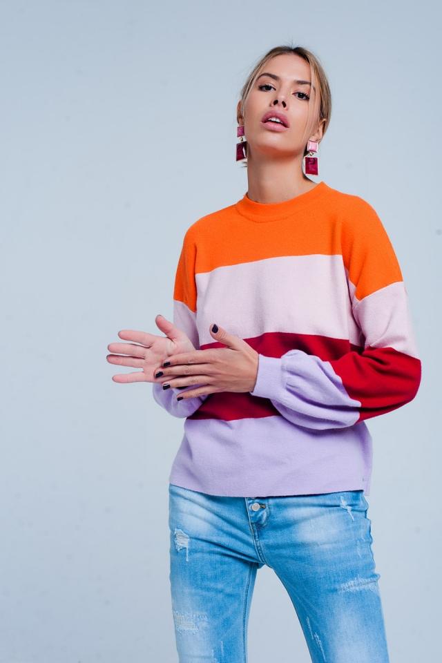 Maglione a righe colori pop
