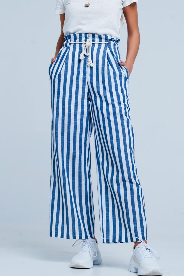 Pantaloni in Blu a righe con cintura di corda