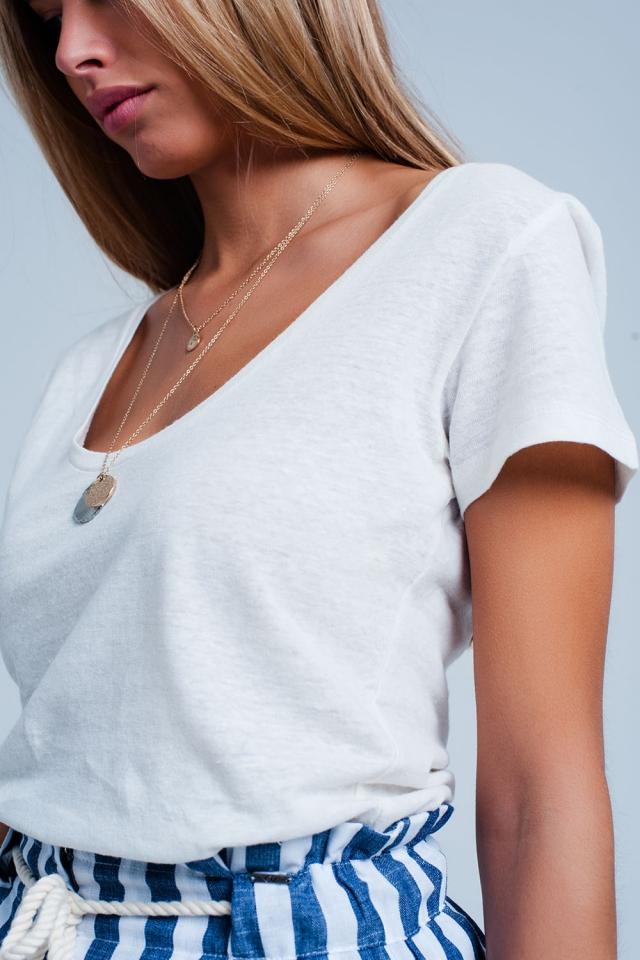 T-shirt Bianco con collo ampio