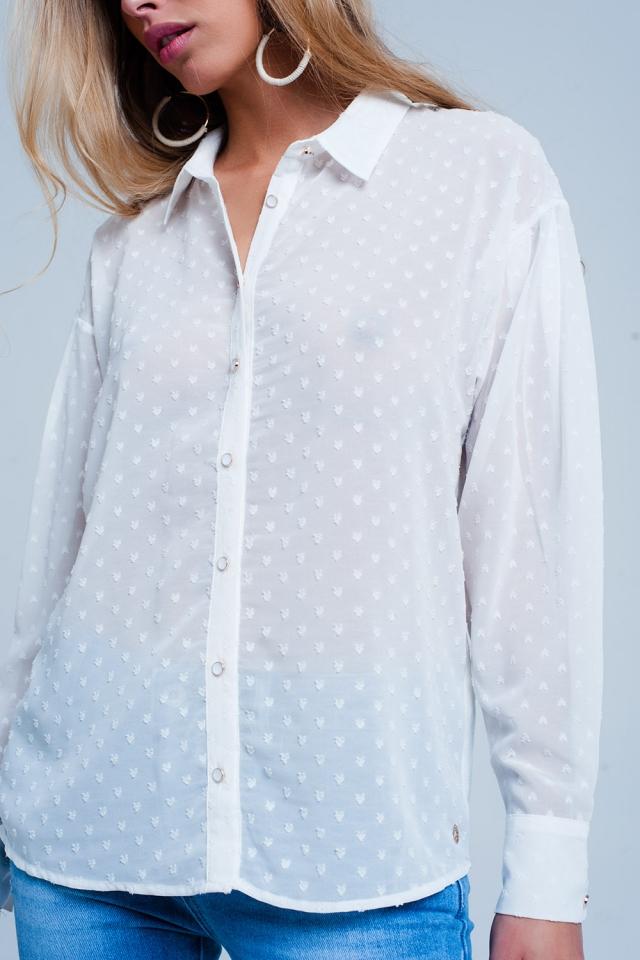 Camicia Bianco comoda trasparente a pois delicati