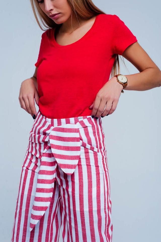 Pantaloni a righe Rosso allacciati in vita