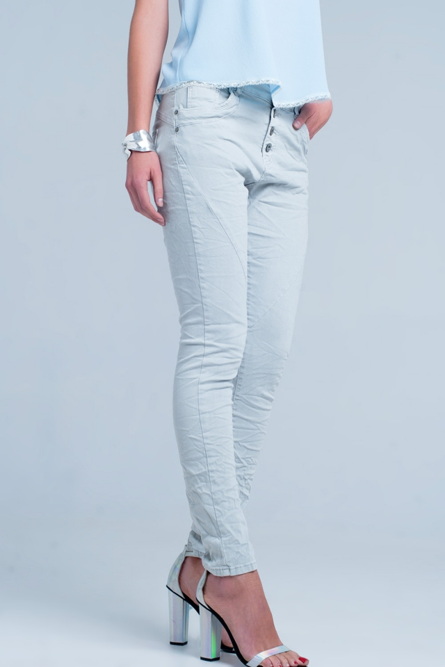 Boyfriend jeans Colore grigio a vita bassa