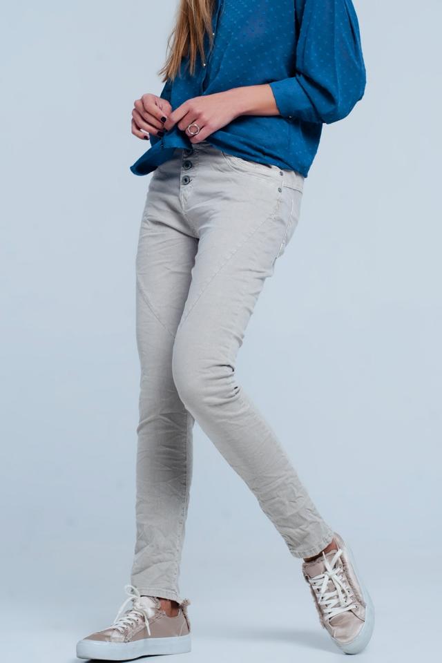 boyfriend Jeans originale colore beige
