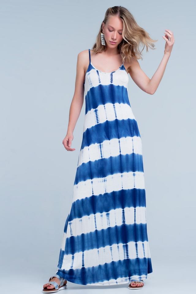 Vestito lungo con spalline sottili e stampa tinto in blu