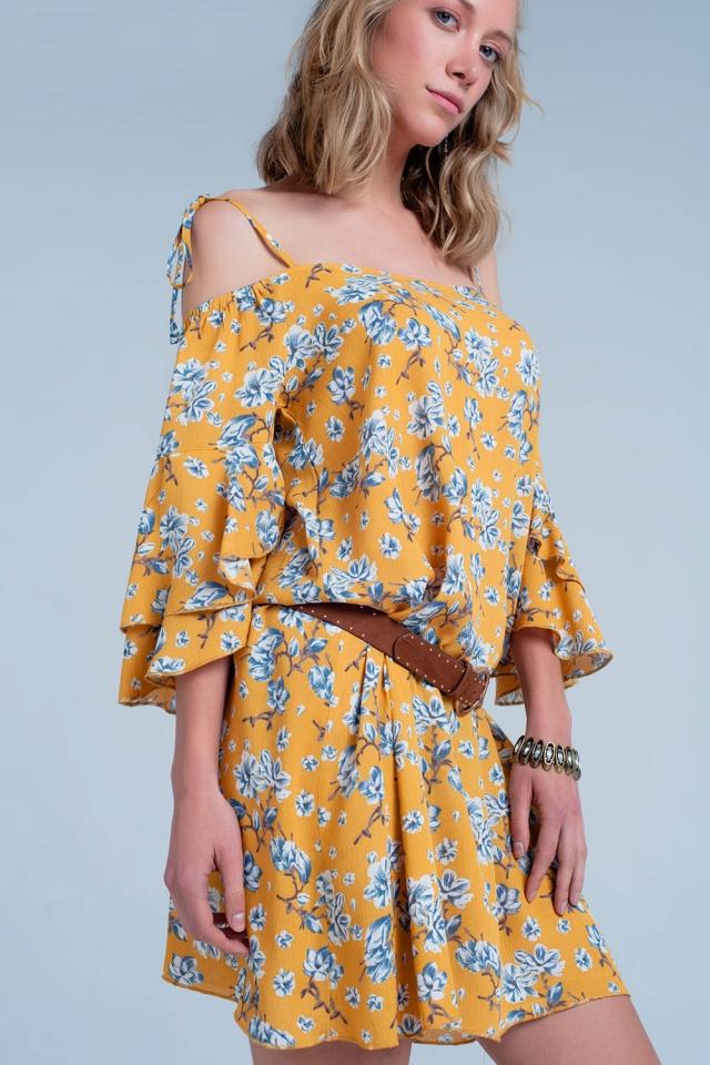Vestito Giallo a fiori con spalle scoperte